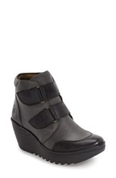 Fly London Women's 'Yugo' Wedge Bootie Graphite Leather