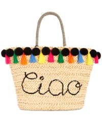 Inc International Concepts I.N.C. Lunaa Cio Pom Pom Straw Extra Large Tote Natural