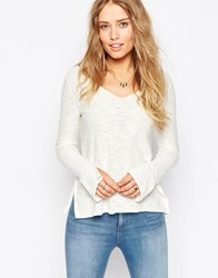 Asos Jumper With V Neck And Side Splits In Natural Yarn Cream