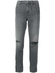 J Brand Ripped Straight Jeans Grey