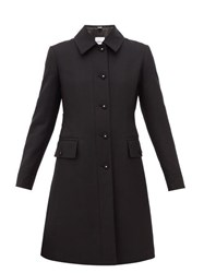 Burberry Angus Single Breasted Wool Blend Coat Black