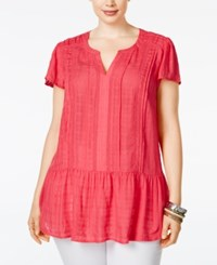 American Rag Plus Size Linen Ruffled Peplum Top Only At Macy's Rasberry
