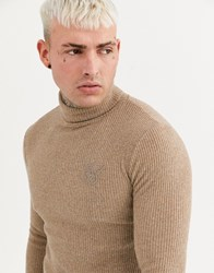 Sik Silk Siksilk Muscle Fit Knitted Roll Neck Jumper In Camel Stone