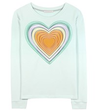 Christopher Kane Love Hearts Embroidered Cotton Sweater Green