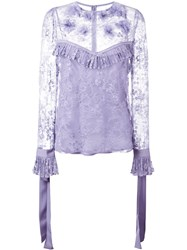 Elie Saab Lace Blouse Pink Purple