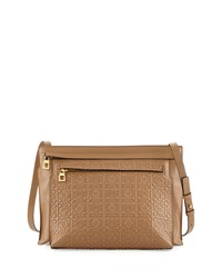 Loewe Large Embossed Double Pouch Crossbody Bag Tan Size L
