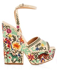 Sergio Rossi Cacoon Embroidered Wedge Sandals Cream Multi