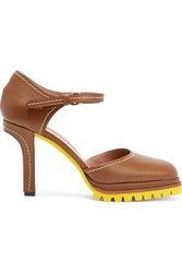 Marni Leather Mary Jane Pumps Brown