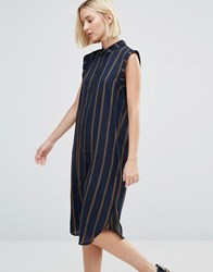 Selected Louay Sleeveless Stripe Shirt Dress Navy