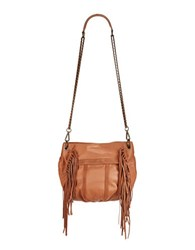 Liebeskind Danielle Fringed Suede And Leather Crossbody Cognac