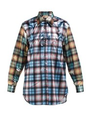 No. 21 Contrast Panel Checked Shirt Blue Multi