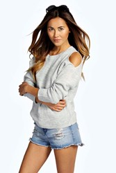 Boohoo Cut Out Shoulder Moss Stitch Jumper Silver