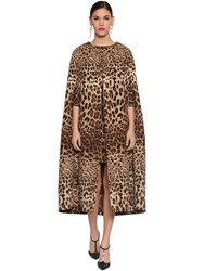 Dolce And Gabbana Printed Double Crepe Long Cape Leopard