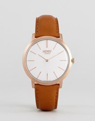 Henry London Tan Leather Watch With Gold Dial