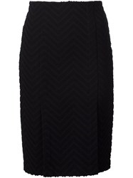 Yigal Azrouel Chevron Side Slit Skirt Black