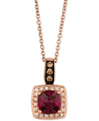 Le Vian Chocolatier Raspberry Rhodolite Garnet 9 10 Ct. T.W. And Diamond 1 8 Ct. T.W. Pendant Necklace In 14K Rose Gold