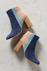 Anthropologie Paola Ferri By Alba Moda Colorblock Boots Blue Motif