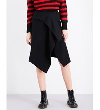 Izzue Wrap Front Wool Blend Skirt Black