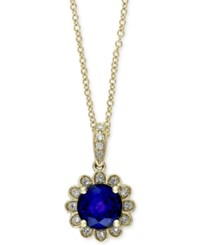 Effy Collection Royal Bleu By Effy Sapphire 1 Ct. T.W. And Diamond Accent Floral Pendant Necklace In 14K Gold Blue