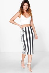 Boohoo Striped Bodycon Midi Skirt Multi