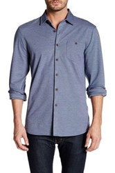 Micros Long Sleeve Button Down Knit Shirt Blue