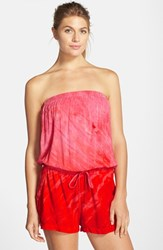 Women's Hard Tail Strapless Tie Dye Print Romper Hot Pink Red Tie Dye