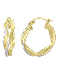 Lord And Taylor 18Kt. Gold Sterling Silver Woven Hoop Earrings Two Tone