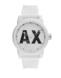 Armani Exchange Atlc Analog White Dial Silicone Strap Watch