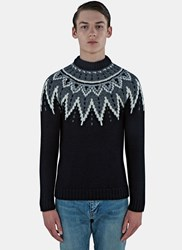 Saint Laurent Fair Isle Sequin Knitted Sweater Black