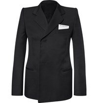 Balenciaga Slim Fit Twill Suit Jacket Black