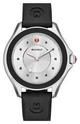 Michele 'Cape' Topaz Dial Silicone Strap Watch 40Mm Silver Black