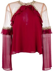 For Love And Lemons Sheer Panel Blouse Red