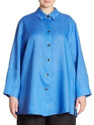Caroline Rose Collared Linen Tunic Riviera Blue