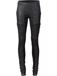 Rick Owens Drkshdw Coated Skinny Biker Trousers Black