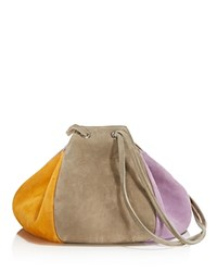 Creatures Of Comfort Puff Drawstring Suede Shoulder Bag Gray Multi Silver