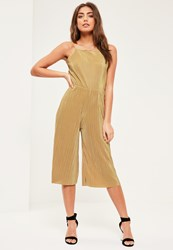 Missguided Petite Exclusive Gold Pleated Jumpsuit