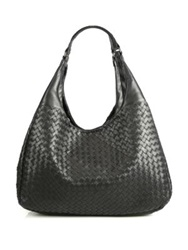 Bottega Veneta Large Campana Hobo Bag Black Ebano