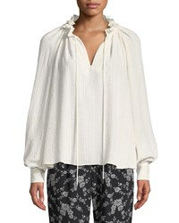 Co Cinched Neck Long Sleeve Jacquard Cloque Blouse Ivory