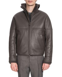 Berluti Leather Bomber Jacket With Lamb Fur Lining Gray