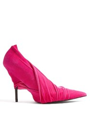 Balenciaga Draped Velvet Point Toe Pumps Pink