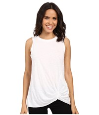 Michael Stars Cotton Supima Slub Tank Top W Front Twist White Women's Sleeveless