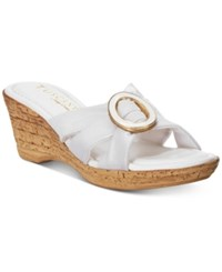 Easy Street Shoes Tuscany Conca Wedge Sandals Women's White