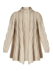 Queene And Belle Lou Lou Cable Knit Wool Cardigan Cream