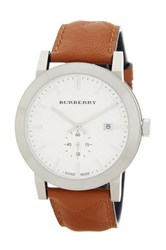Burberry Men's Check Stamped Leather Strap Watch Brown