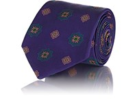 Fairfax Medallion Pattern Silk Twill Necktie Purple
