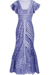 Temperley London Paneled Mesh And Satin Gown Lavender