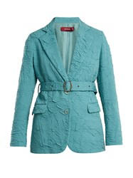 Sies Marjan Terry Crinkled Wool Blend Blazer Blue