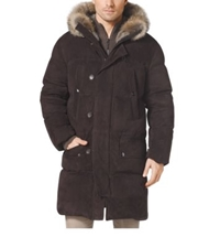 Michael Kors Quilted Suede Down Filled Coat Chocolate