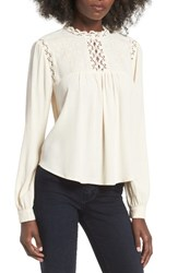 Astr Women's Embroidered Blouse Cream