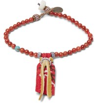 Mikia Ikia Suede And Coral Bead Bracelet Red